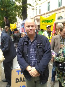 Jag på demonstrationen mot TTIP och CETA, greenpeace, jordens vänner, naturskyddsföreningen,